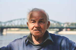old man's gray hair